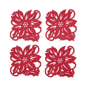 Pack of 4 Poinsettia Coasters