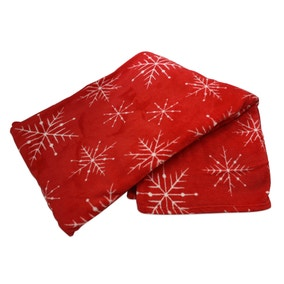 Snowflake Red Printed Throw
