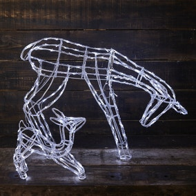Light Up Mother and Baby Reindeer