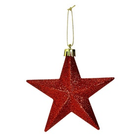Pack of 6 Red Glitter Hanging Stars