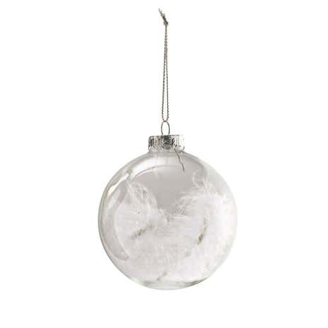 White Feather Filled Glass Bauble