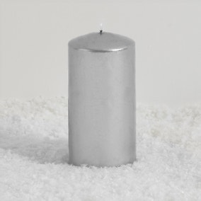 Large Silver Pillar Candle