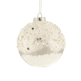 Sequin Glass Snowball Baubles