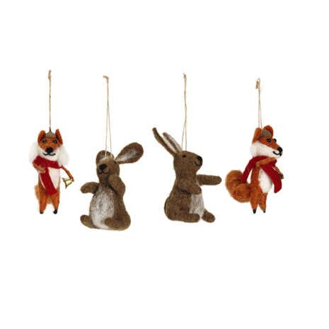 Fox and Rabbit Hanging Decorations Set of 4