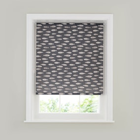 Charcoal Fish Print Moisture Resistant Roller Blind