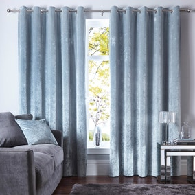 Crushed Velour Ice Blue Eyelet Curtains