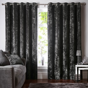 Crushed Velour Charcoal Eyelet Curtains