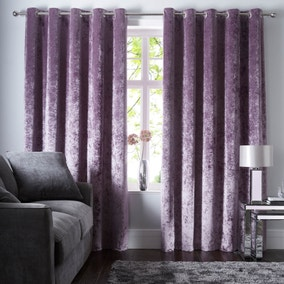 Crushed Velour Mauve Eyelet Curtains