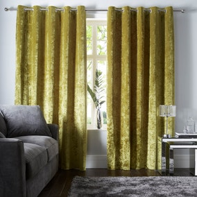 Crushed Velour Chartreuse Eyelet Curtains