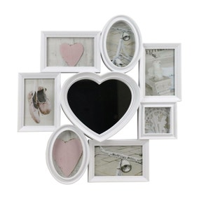White 8 Aperture Heart Photo Frame