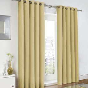 Baxter Ochre Lined Eyelet Curtains