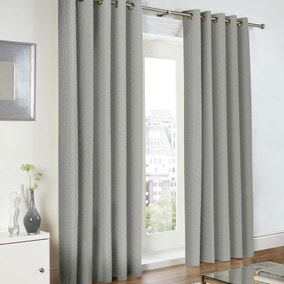 Baxter Grey Lined Eyelet Curtains