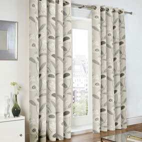 Blair Monochrome Lined Eyelet Curtains