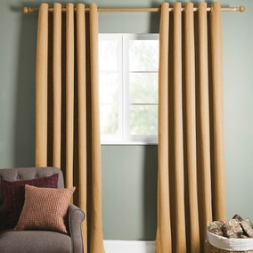 Brampton Ochre Thermal Eyelet Curtains
