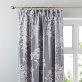 Laura Grey Jacquard Blackout Pencil Pleat Curtains