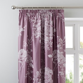 Laura Mauve Jacquard Blackout Pencil Pleat Curtains