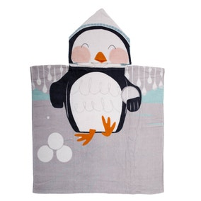 Kids Penguin Hooded Towel