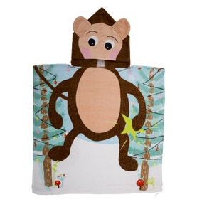 Kids Monkey Hooded Towel