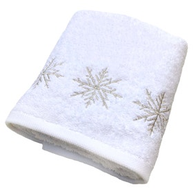 Snowflake Embroidered White Christmas Hand Towel