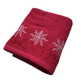 Snowflake Embroidered Red Christmas Hand Towel