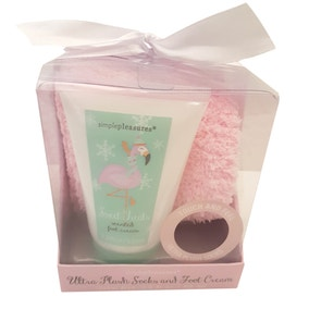 Flamingo Socks and Foot Cream Stocking Filler