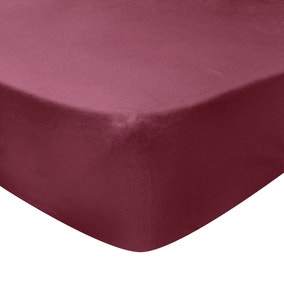 Dorma Luxurious 100% Brushed Cotton 32cm Red Fitted Sheet