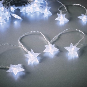 Set of 50 White Star LED Timer Lights