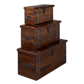 Darjeeling Set Of 3 Storage Trunks