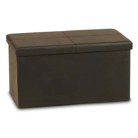 Large Black Folding Ottoman Storage Box