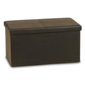 Large Black Folding Ottoman Storage Box