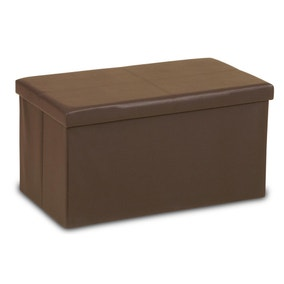 Large Brown Folding Ottoman Storage Box