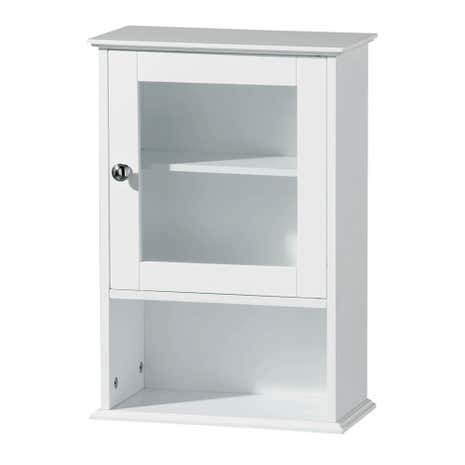 Portland White Wood Window Wall Cabinet