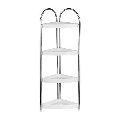 White 4 Tier Corner Storage Unit