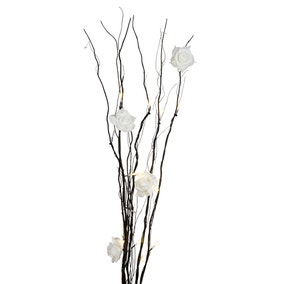 Black Twig Lights with White Roses
