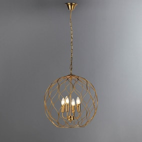 Globe Gold 4 Light Fitting