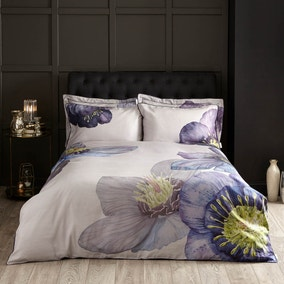 Harris & Hatherly by Jane Abbott Hellebore Digitally Printed 100% Cotton Duvet Cover and Pillowcase Set