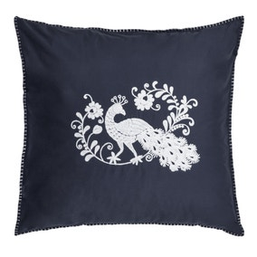 Jan Constantine Oriental Peacock Embroidered 100% Cotton Continental Pillowcase