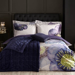 Harris & Hatherly by Jane Abbott 100% Cotton Velvet Navy Bedspread