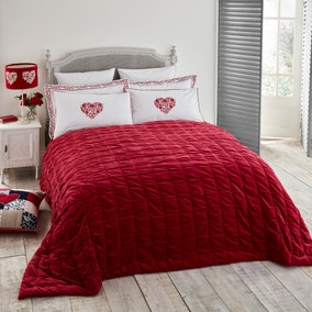 Jan Constantine 100% Cotton Velvet Red Bedspread