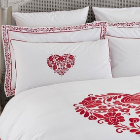 Jan Constantine Red Classic Heart Embroidered 100% Cotton Percale Oxford Pillowcase