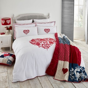 Jan Constantine Red Classic Heart Embroidered 100% Cotton Percale Duvet Cover and Pillowcase Set