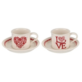Jan Constantine and Portmeirion Set of 2 Red Espresso Cups & Saucers
