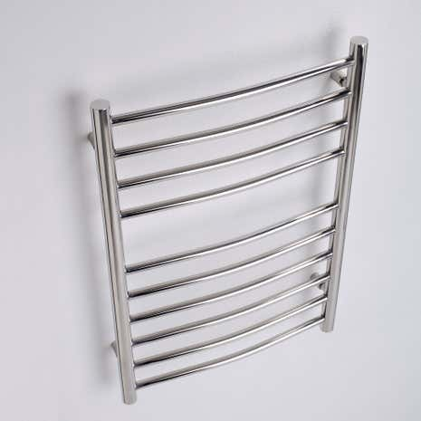 Alara Polished Silver Stainless Steel Curved Electric Towel Radiator