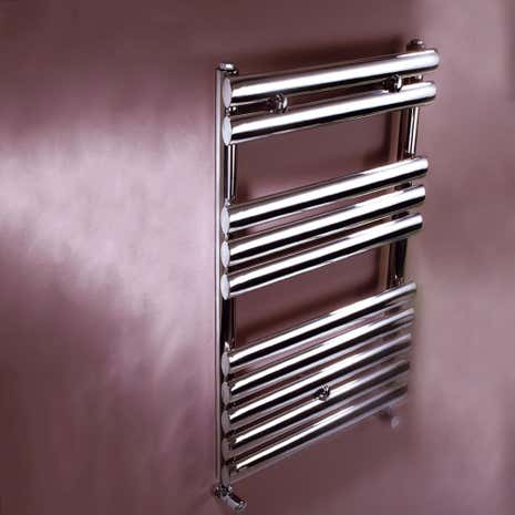 Oval Brushed Silver Stainless Steel Electric Towel Radiator