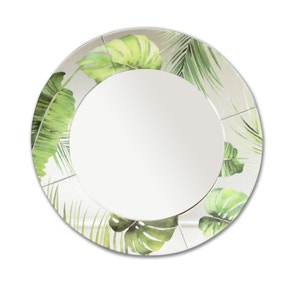 Voyager Tropical Leaf Round Mirror