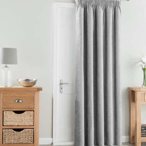 Chenille Silver Thermal Pencil Pleat Door Curtain | Dunelm