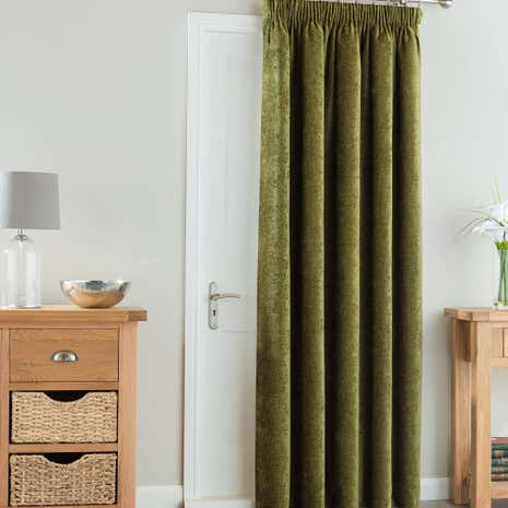 Chenille forest green thermal pencil pleat door curtain for Forest green curtains drapes