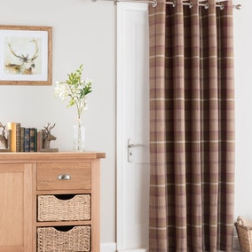 Highland Check Plum Thermal Eyelet Door Curtain