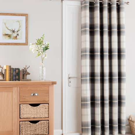 Perfect Highland Check Charcoal Eyelet Door Curtain. Loz_20_percent_off_ws15