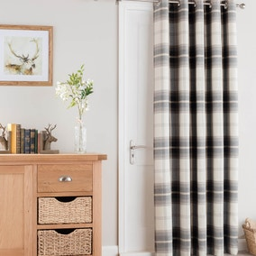 Highland Check Charcoal Eyelet Door Curtain